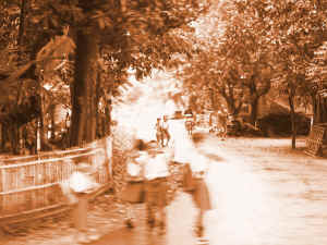 Street with Kids - 1840 Sepia